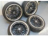 "KEI Racing 17"" 4x100 4x108 alloy wheels + tyres VAUXHALL FORD CITROEN MG VW HONDA TOYOTA"