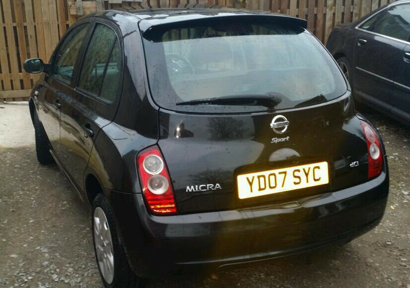 07' Nissan Micra 1.5 dci SPORT, diesel, 5 door,black LONG MOT +economical yaris civic fiesta corsa