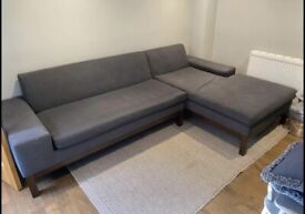 Quality grey fabric corner sofa in very good condition
