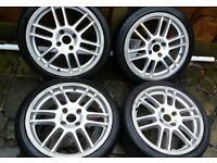 TSW 17x7J 4x108 alloy wheels + 3 excellent tyres Ford Citroen Peugeot