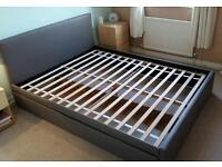 Kingsize Faux Leather Bed Frame 2 Drawer Storage Chocolate