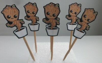 Baby Groot  Birthday Party Cake cupcake toppers,  Guardians of the Galaxy ](Galaxy Birthday Cake)