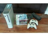 Xbox360 with games and controllers