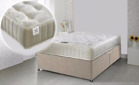 King Mattress with Divan Base, Cream - UK King