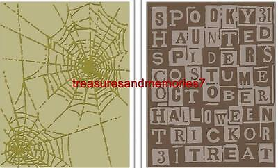 SIZZIX Tim Holtz Alterations 2 Embossing Folders HALLOWEEN WORDS & COBWEBS A2 - A Halloween Words