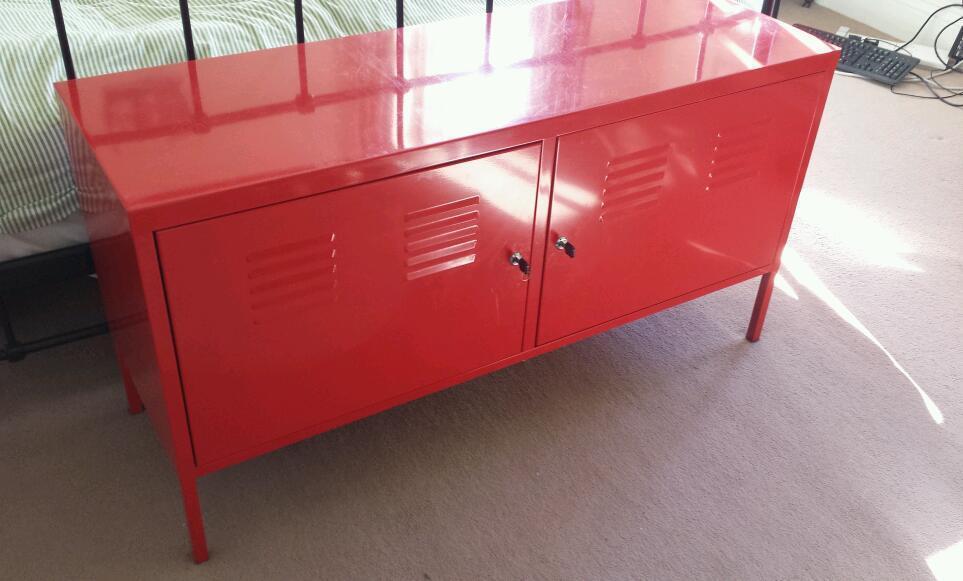 IKEA PS Cabinet Lockable Red Metal Storage   Living Room, Bedroom, TV Stand  Etc