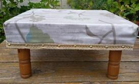 hand made foot stool, one off design, and fabric, shabby chic wooden legs