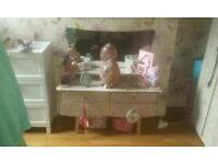 BARGINS vintage bed room set. School table. File cabint