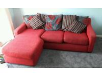 Red and Grey Corner Sofa