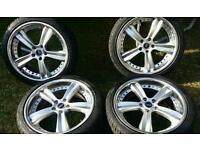 18 inch 5x108 alloys wheels with new tyres