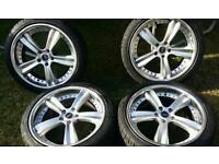 18 inch 5x108 alloys with 4 new tyres