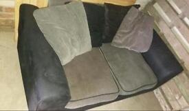2 seater black and grey fabric sofa