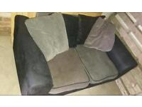 2 seater black and grey fabric sofa