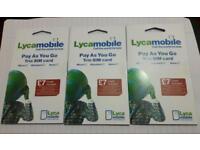 3 × Lyca simcards with 5£ balance micro,standard, nano sim offer