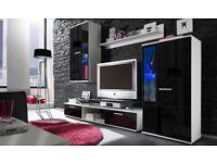 HIGH GLOSS MODERN WALL UNIT SALSA - HIGH QUALITY, TV UNIT 2X CABINET, WARDROBE, HANGING SHELF