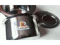 9 Stainless steel pots with lids