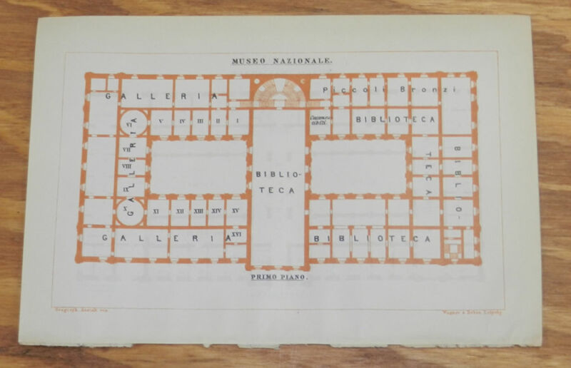 1909 Antique COLOR Layout Map of NATIONAL MUSEUM, ROME, ITALY