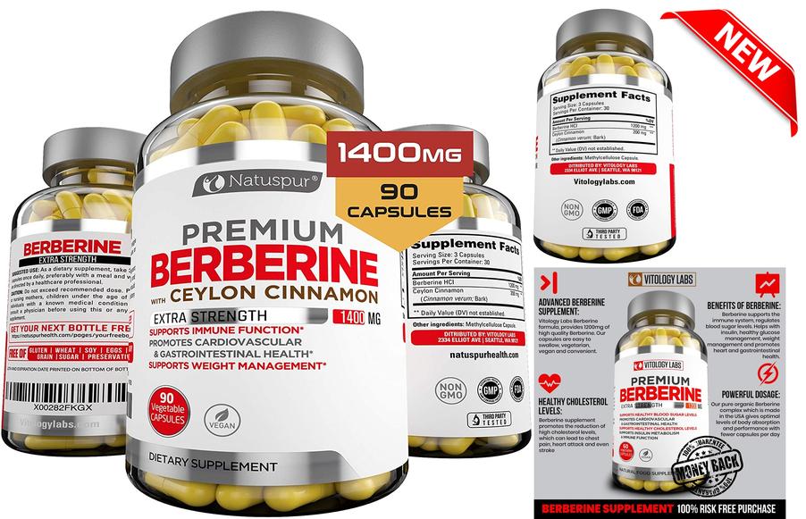 Premium Berberine HCL Plus Ceylon Cinnamon 1400mg For Blood Sugar Glucose Metabo - $25.99