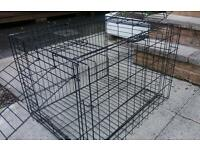 Dog Puppy Cage Folding 2 Door Crate with Non-Chew Metal Tray 27-inch Black