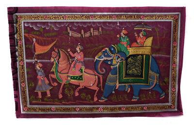Hanging Wall Painting Mughal on Silk Art Elephant India 71x49cm 30