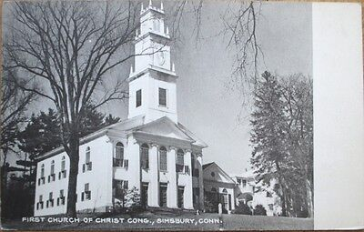 1930S Simsbury  Ct Postcard  First Church Of Christ   Connecticut Conn