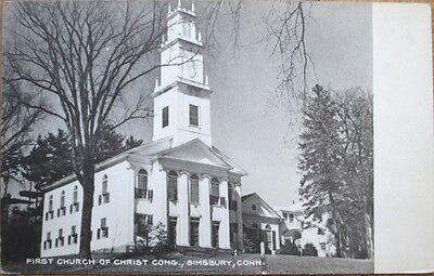 1930S Simsbury  Ct Postcard  First Church Of Christ   Connecticut Conn