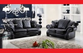 BRAND NEW SCS DIANA CHESTERFIELD DESIGN LEATHER 3+2 SOFA + DELIVERY