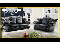 BRAND NEW CHESTERFIELD DESIGN DIANA LEATHER 3+2 SOFA BLACK ONLY + DELIVERY