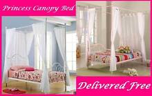 Single Bed Princess Four Poster Canopy Bed White or Pink New Farm Brisbane North East Preview