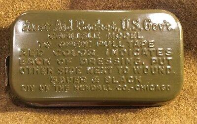 WW2 US Military USGI Army First Aid Medical Field Packet Carlisle Metal  6/1943