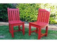 2 x wood garden chairs - free delivery