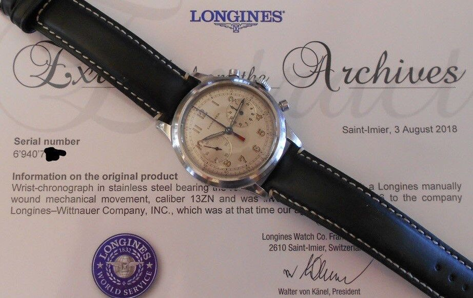 """VINTAGE 1940's LONGINES 13ZN 23086 REF 5699 40mm CHRONOGRAPH """"Doppia Lancetta"""" - watch picture 1"""