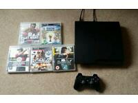 Slim ps3 playstation 3 console with Controller and 5 games