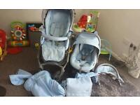 Bebecar hip hop carrycot, pushchair,car seat isofox for sale