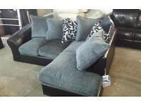 Tamika corner sofa in black & grey with scatter chusions new ex display mosels rrp£795