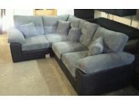 Armstronge black & grey corded corner sofa brand new rrp£895