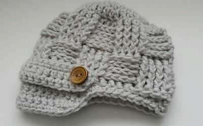 Newsboy Outfit (Newborn Baby Boy Girl Newsboy Hat Crochet photo prop Gift Baby Outfits)