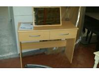 A brand new slight seconds beech effect finish 2 drawer dressing table with mirror.