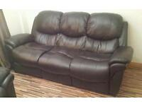 3 seater brown leather look sofa with one matching recliner
