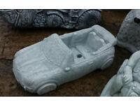 Concrete mini convertible car garden ornament