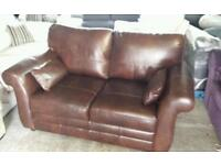 Ex display real leather 2 seater sofa only £159