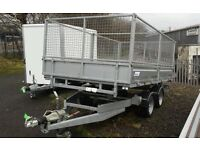 GREAT SAVING OF £700+vat OF THE R.R.P NEW INDESPENSION 12 x 6 ELECTRIC TIPPER TRAILER WITH MESHSIDES