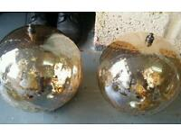 Two old glass reflector ball shades