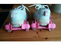 Girls Heeleys and ankle strap ons (Lights up when you skate)