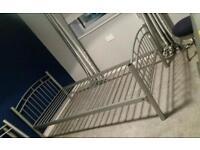 2 x metal single beds