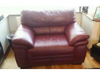 Real leather cuddle chair large chair only £85