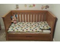 Mamas & Papas Ocean Cot Bed Solid Oak & Mattress