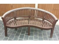 Curved hardwood bench