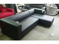 New ex display clarke shases sofa in black faux leather only £150