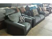 Tamika 3 seater sofa plus matching arm chair in black and grey new good savings